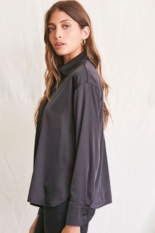 BLACK Satin Dolphin-Hem Shirt, image 2