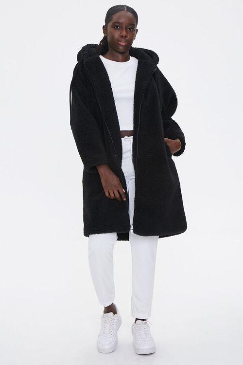 Faux Shearling Longline Hooded Coat, image 4