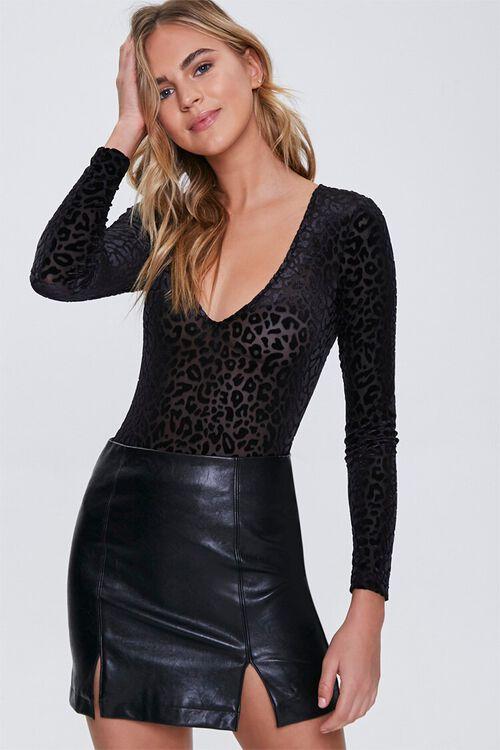 Mesh Leopard Print Bodysuit, image 1