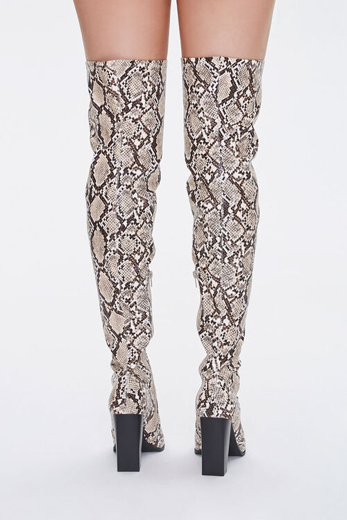 Faux Snakeskin Over-the-Knee Boots, image 3