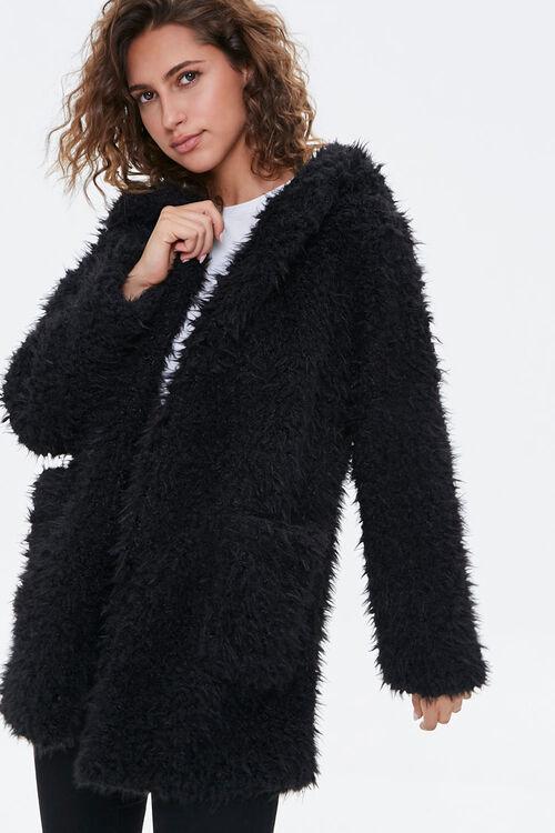 Hooded Fuzzy Knit Jacket, image 1