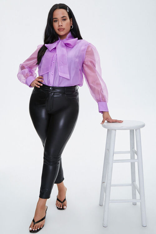 Plus Size Organza Pussycat Bow Top, image 4