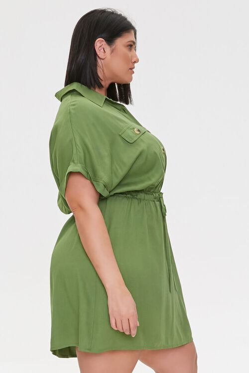 Plus Size Tie-Waist Shirt Dress, image 2