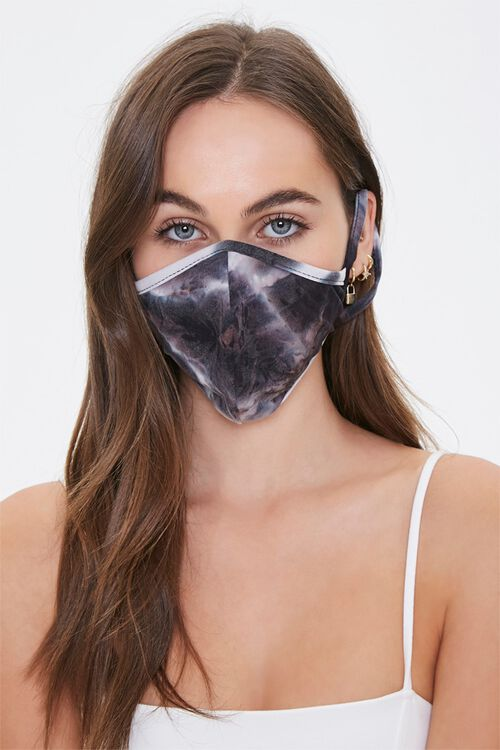 BLACK Tie-Dye Face Mask, image 1