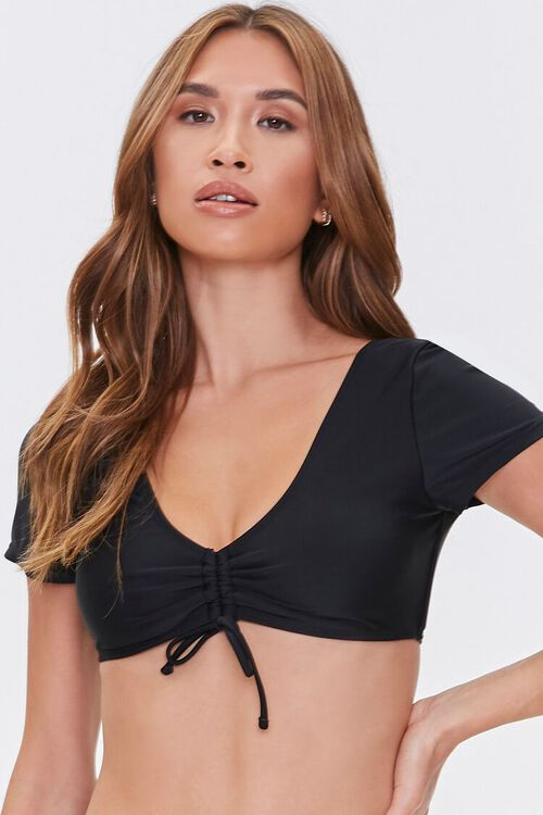 Ruched Drawstring Bikini Top, image 1