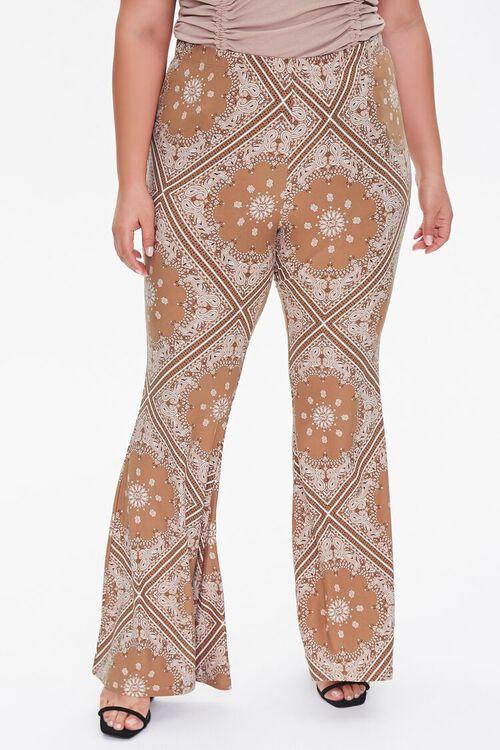 CAMEL/MULTI Plus Size Ornate Flare Jordyn Pants, image 2