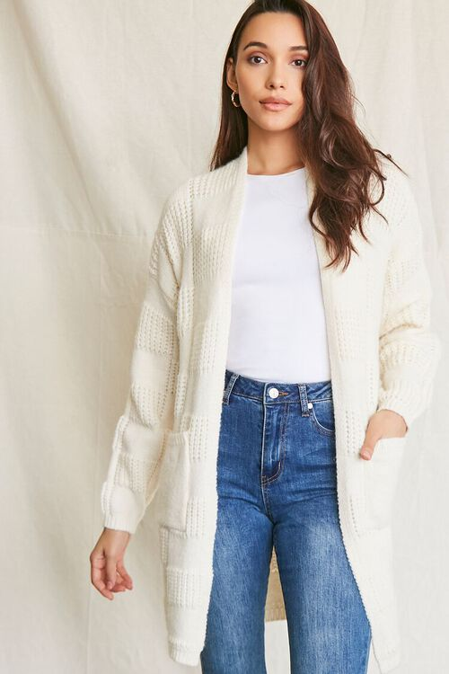 IVORY Checkered Purl Knit Cardigan Sweater, image 1