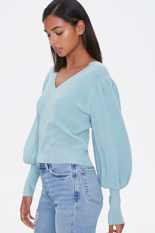 Glitter Knit Balloon-Sleeve Sweater, image 2
