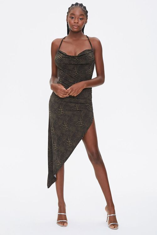 Snake Print Cowl Dress, image 4