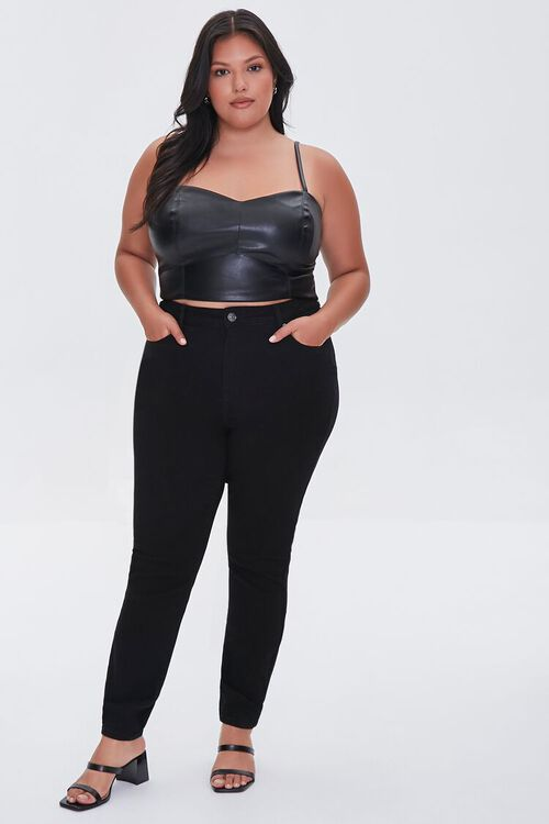 BLACK Plus Size Faux Leather Cropped Cami, image 4