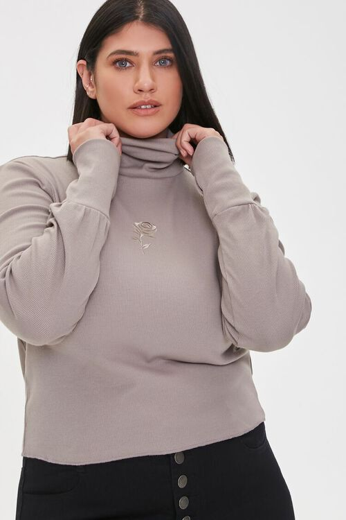 Plus Size Embroidered Rose Turtleneck Top, image 1
