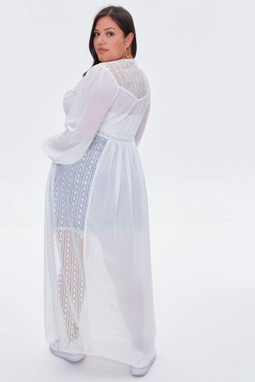 WHITE Plus Size Lace Duster Cardigan, image 4