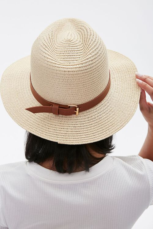 Faux Straw Buckled Fedora, image 3