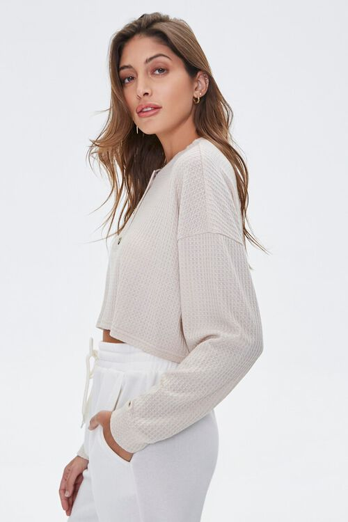 Waffle Knit Henley Top, image 2
