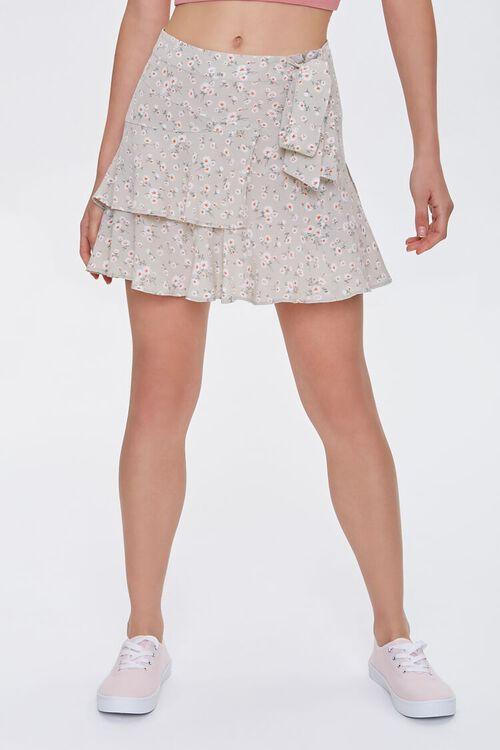 Floral Tulip-Hem Mini Skirt, image 2