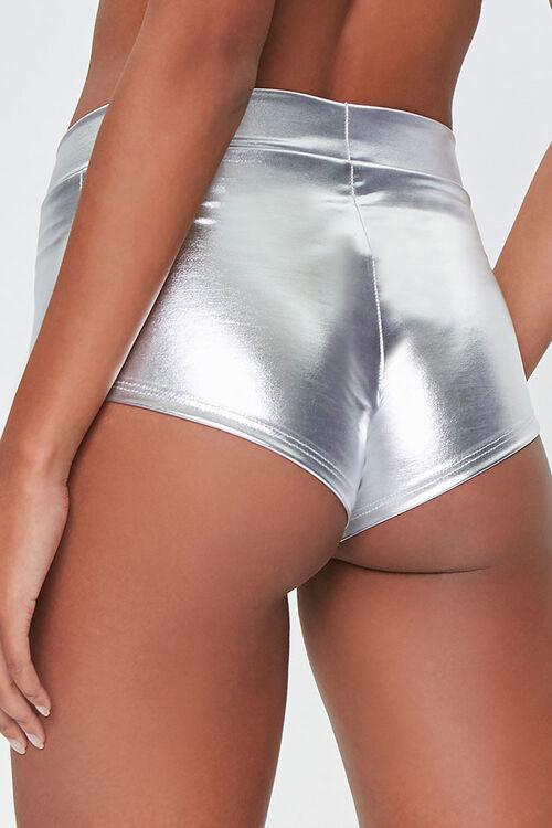Metallic Faux Patent Leather Shorts, image 4