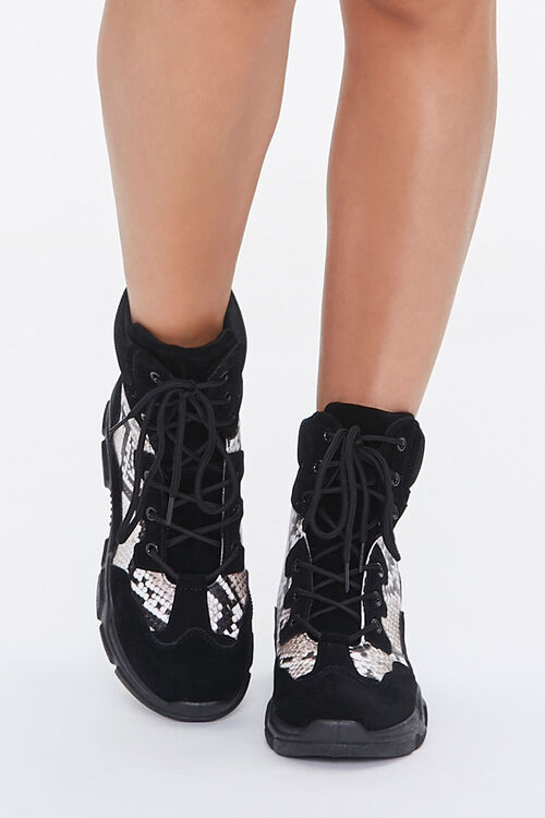 Faux Snakeskin Combat Boots, image 4