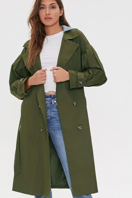 Hooded Double-Breasted Trench Coat, image 1