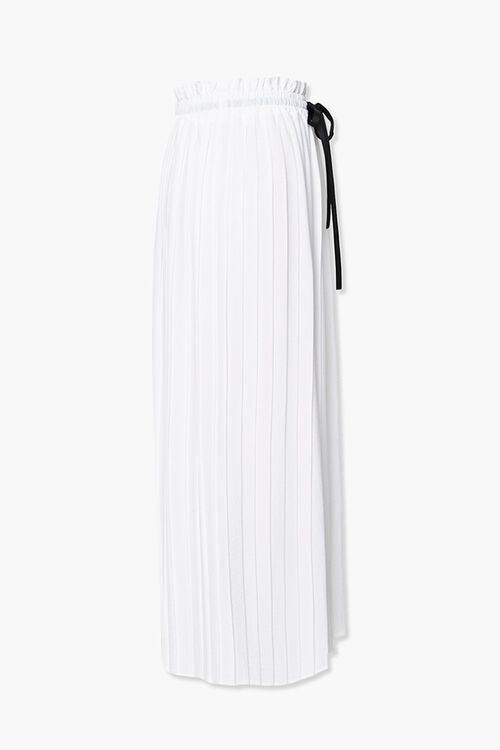 WHITE/BLACK Pleated Drawstring Culottes, image 2