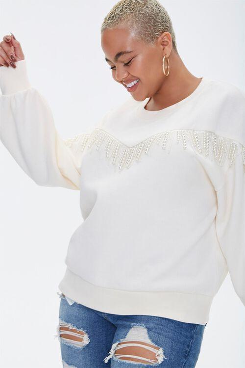 Plus Size Faux Pearl-Trim Sweater, image 1