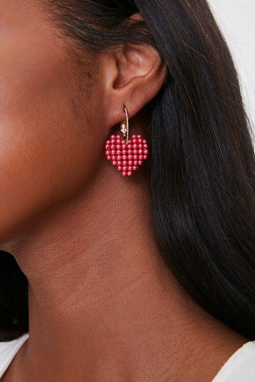 Beaded Heart Pendant Drop Earrings, image 1