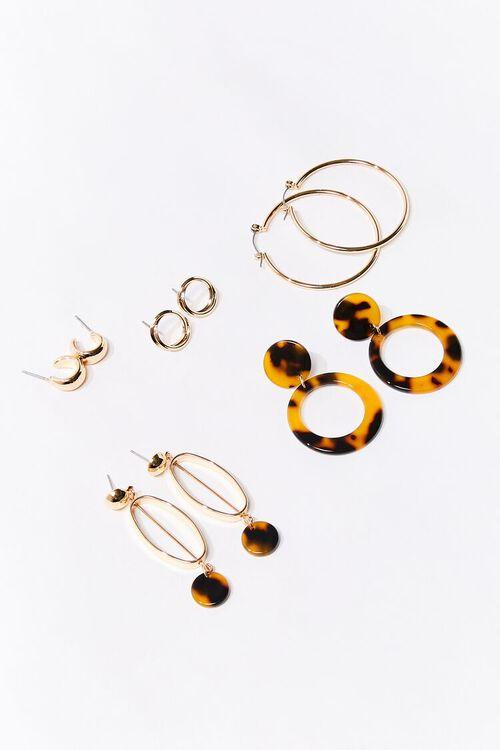 GOLD/MULTI Marbled Drop & Hoop Earring Set, image 1