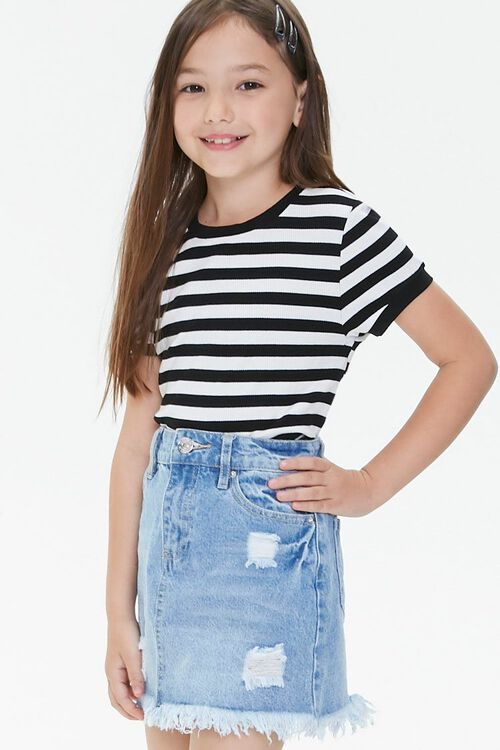 Girls Frayed Denim Skirt (Kids), image 1