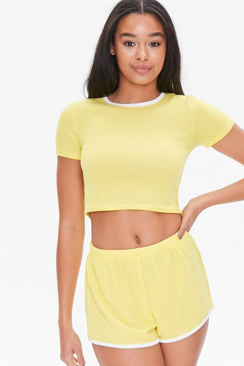 Contrast-Trim Cropped Tee & Shorts Set, image 1