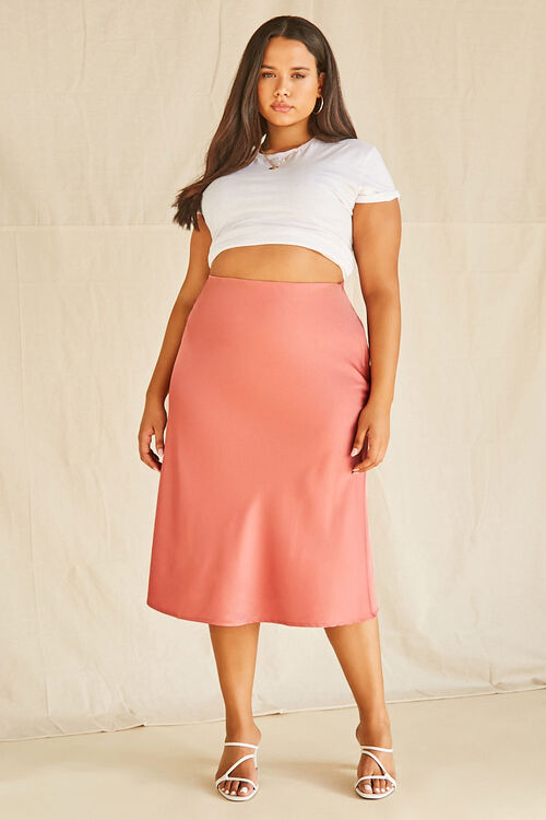 Plus Size Satin Midi Skirt, image 4