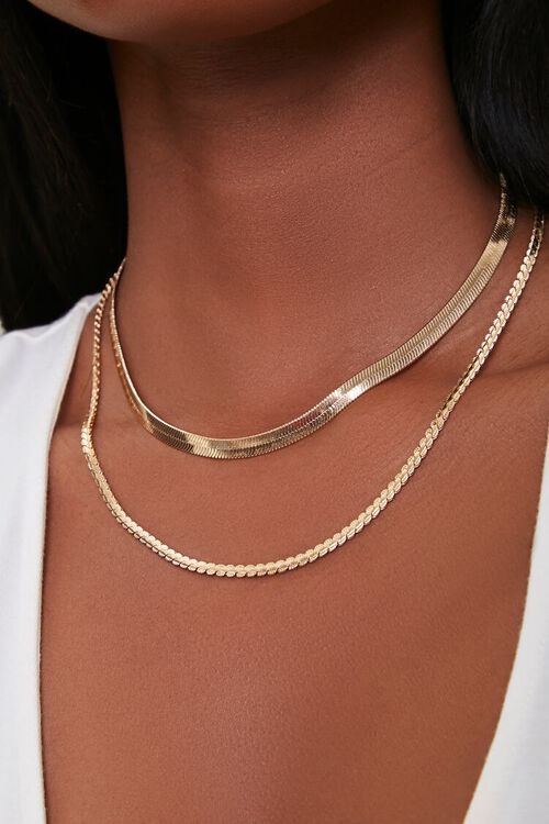 GOLD Serpentine Layered Necklace, image 1