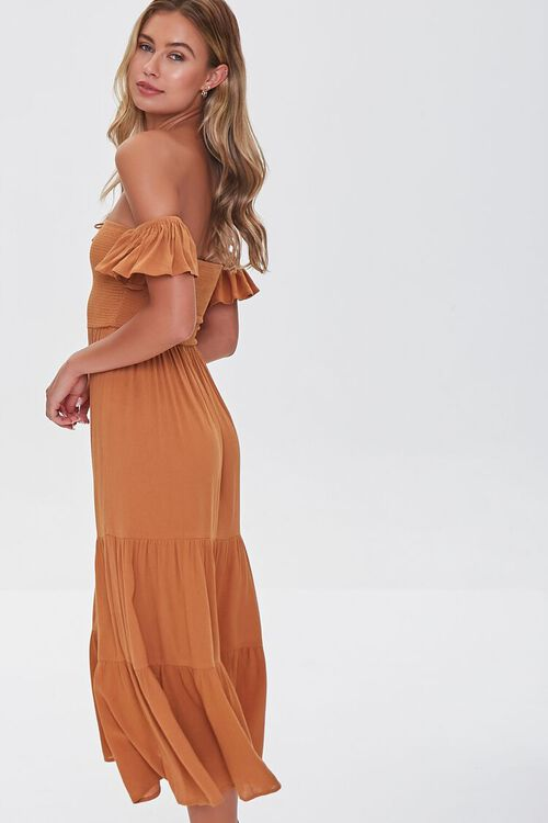 AMBER Lace-Up Off-the-Shoulder Midi Dress, image 2