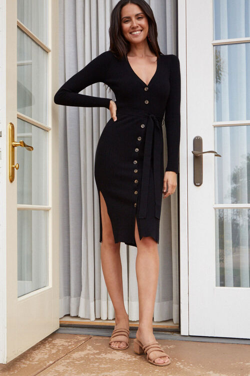 Ribbed Button-Down Sweater Dress, image 5