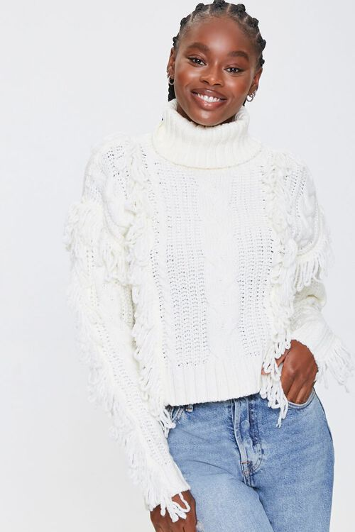 Loop-Knit Trim Turtleneck Sweater, image 1