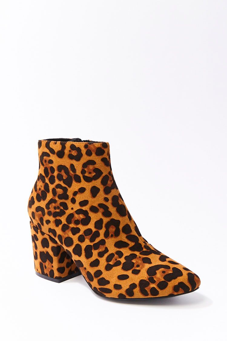 Faux Suede Leopard Print Booties