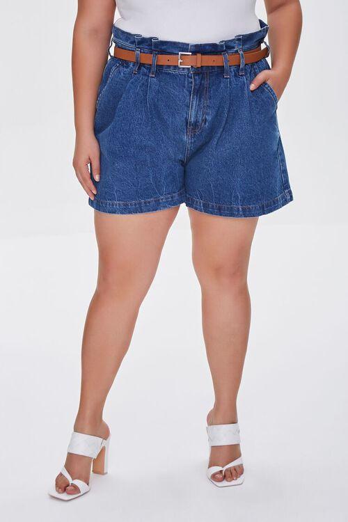 MEDIUM DENIM Plus Size Denim Paperbag Shorts, image 2