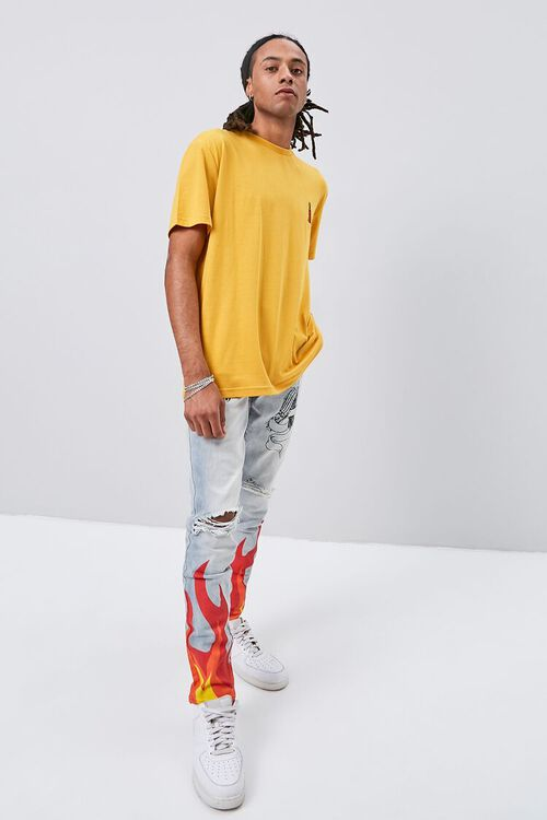 Flame Graphic Distressed Jeans, image 1