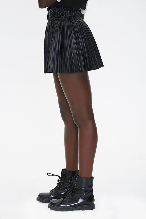 Pleated Faux Leather Mini Skirt, image 3