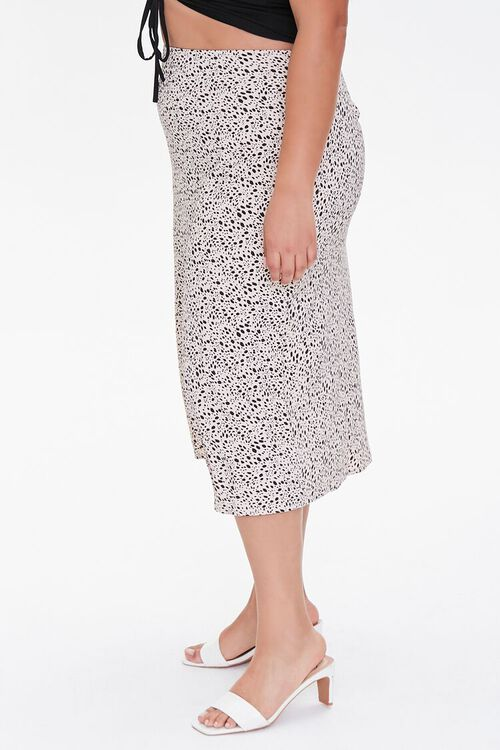 Plus Size Spotted Print Midi Skirt, image 3