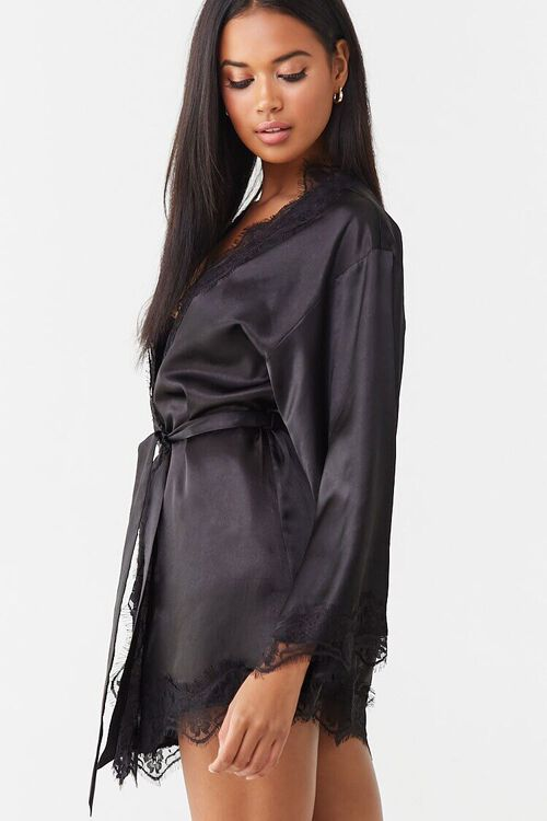 BLACK Lace Satin Robe, image 2