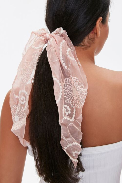 Embroidered Bow Scrunchie, image 1