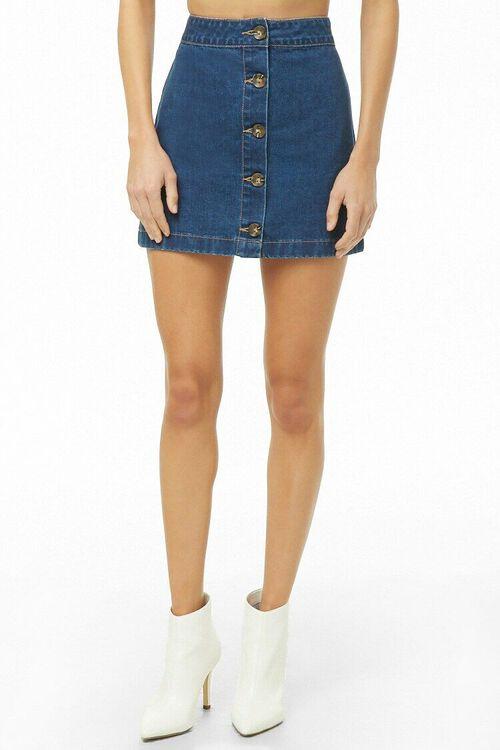 Button-Front Denim Mini Skirt, image 2