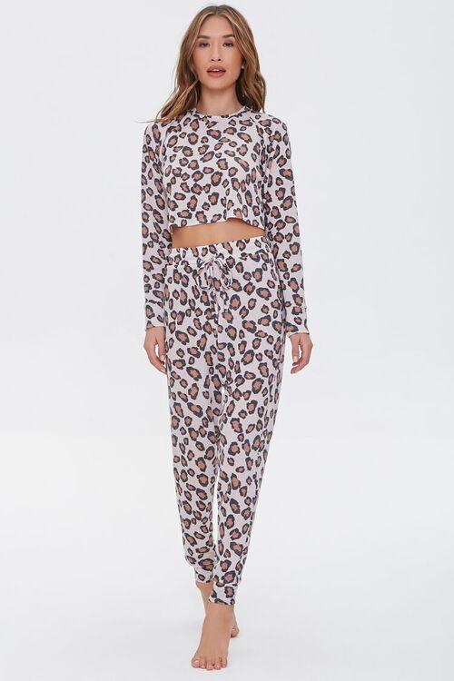 BEIGE/MULTI Leopard Print Lounge Pants, image 1