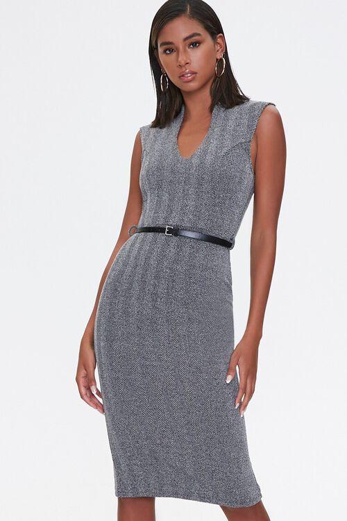 CHARCOAL/BLACK Herringbone Sheath Dress, image 1