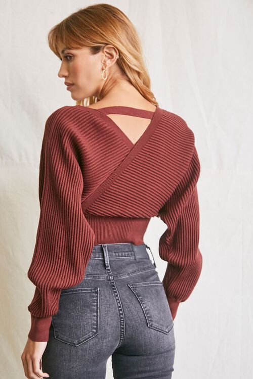 BROWN Ribbed Surplice Sweater, image 3