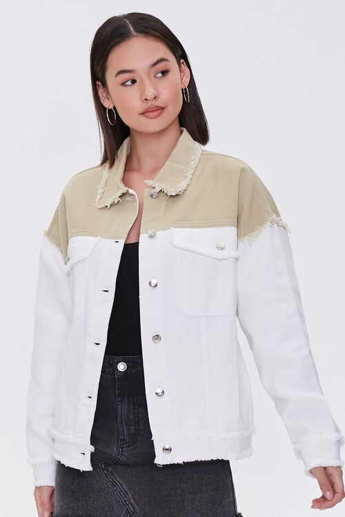 Frayed Colorblock Denim Jacket, image 1