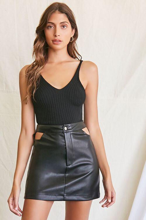 BLACK Faux Leather Cutout Mini Skirt, image 1