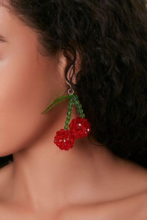 Druzy Cherry Pendant Drop Earrings, image 1