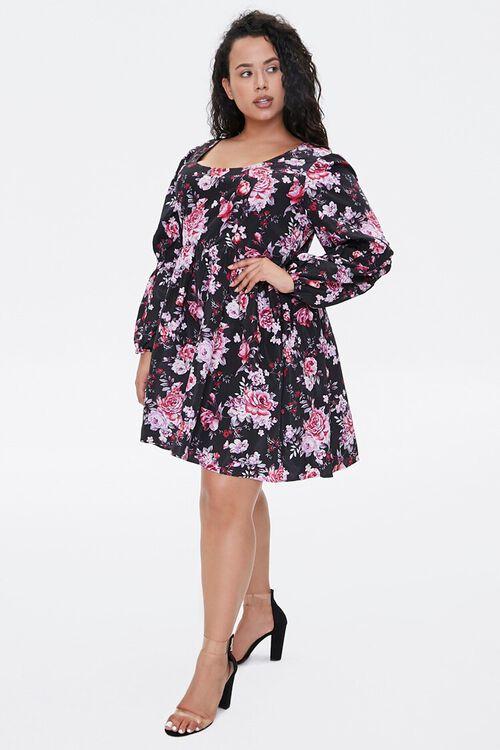 BLACK/PINK Plus Size Floral Fit & Flare Dress, image 4