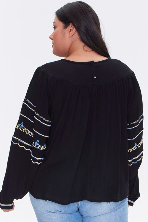 Plus Size Embroidered Peasant Top, image 3