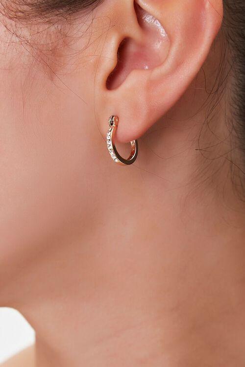 GOLD Rhinestone Hoop Earrings, image 1